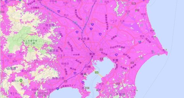 地図表示から住んでいる県を選択してWiMAXのサービスエリアを表示する