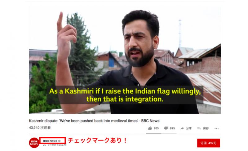 YouTubeの公式チャンネル動画のマーク画面