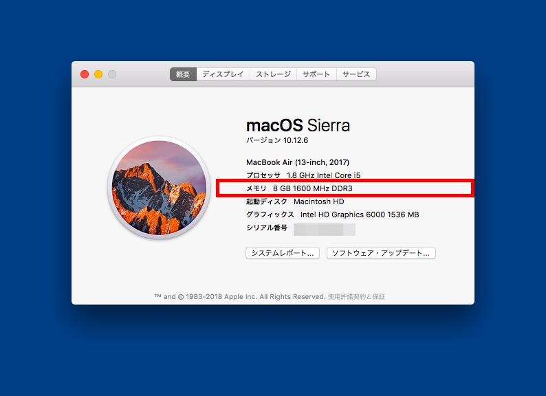 macでメモリ量を確認する画面