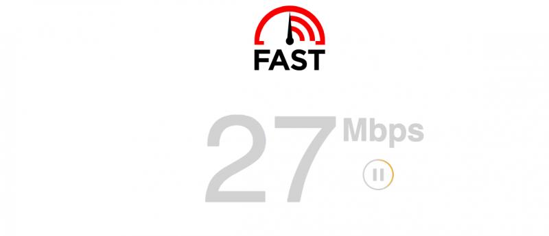 YouTubeを観るための通信速度を測るFast.comの測定画面