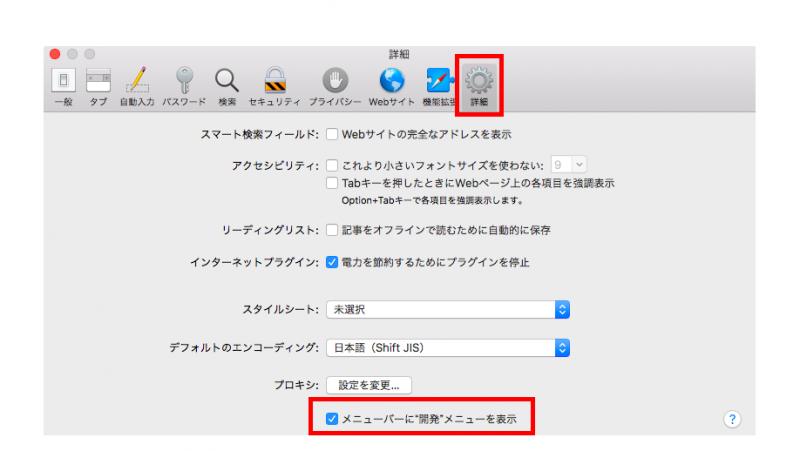 macキャッシュの削除方法「詳細」と「メニューバーに開発メニューを表示」の図