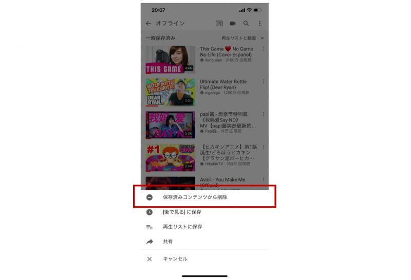 有料YouTube Premium動画の削除画面