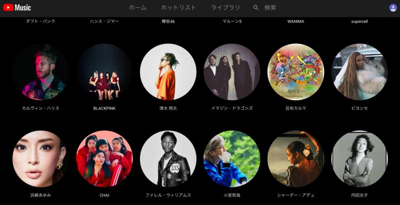 YouTube Music Premiumのトップ画面