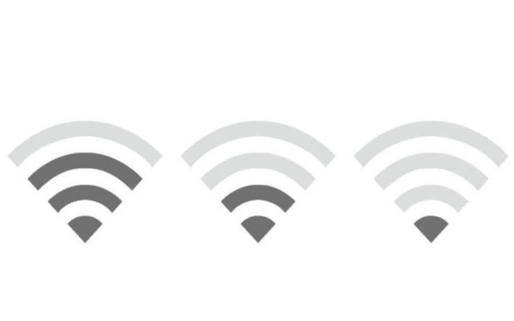 WiFiの距離が届いているかは扇マークを見る