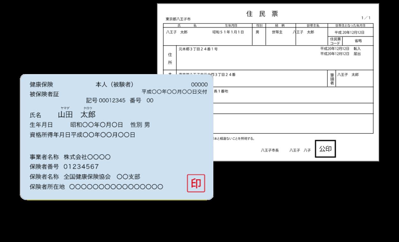 保険証+補助書類