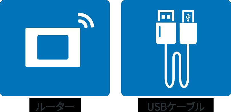 ルーター、USBケーブル
